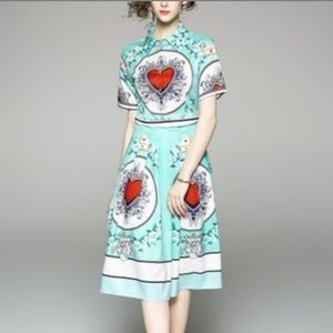 Mint and heart demask midi dress